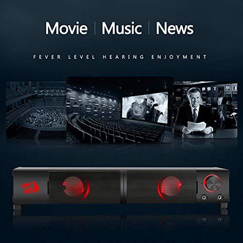 Caixa de Som Soundbar Gamer Redragon Orpheus Stéreo 2.0 6W P2 LED Vermelho - GS550