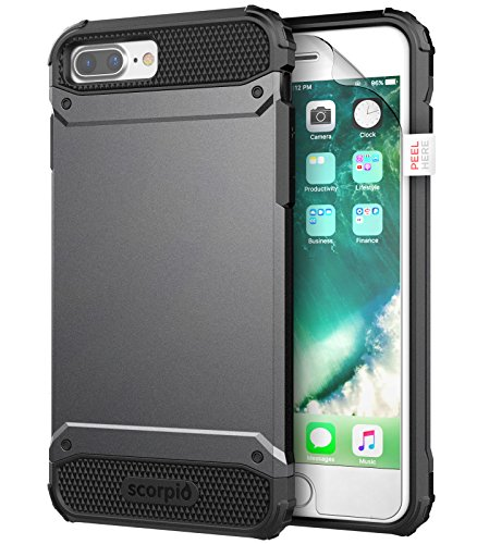 "iPhone 7 Plus 5.5"" Case [Scorpio R7] Premium Protection Cover w/ Screen Guard (Metallic Gray)"