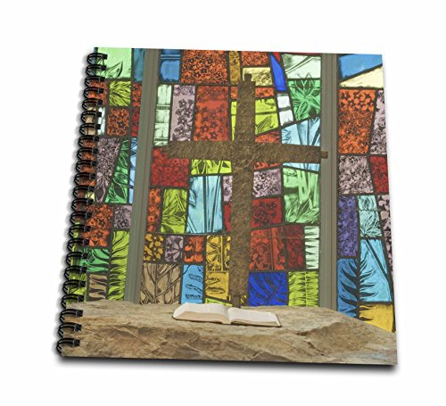 (3dRose db_83522_1 Stained Glass at a Church with Nature themes-NA01 RKL0023-Raymond Klass-Drawing Book, 8 by 8