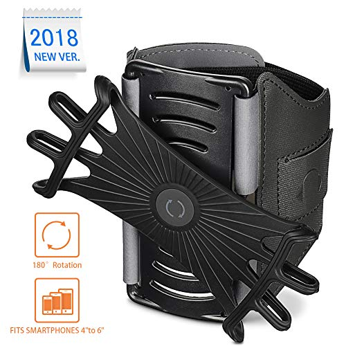 180° Rotatable Running Armband, Secure Phone Holder for Running, Sports, Jogging, Cycling, Trainning, Sports Bracelet for iPhone, Samsung Galaxy and Other 4-6 inch Mobile Phone by NAVESTAR