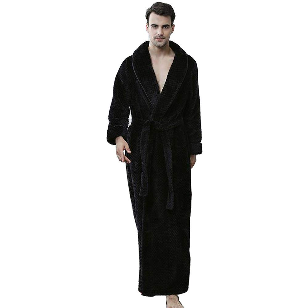 0efc98638a Bathrobe Men Dressing Gown Towelling Terry Fluffy Boy Luxury Long Plus Size  Pyjamas For Spa Bath (Color   BLACK