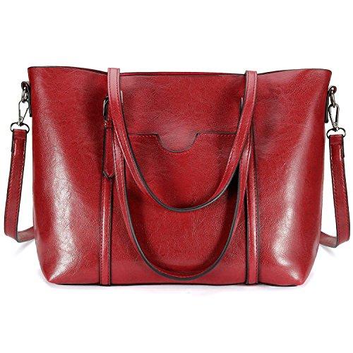Red Leather Shoulder Bag (Women Tote Purse, Bagerly Top Handle Satchel Handbags Shoulder Bag Leather Tote Bag (Wine Red))