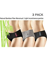 New 3 Pack Natural Bamboo Skin-Friendly Absorbent Menstrual Period Panty Incontinence - Cat