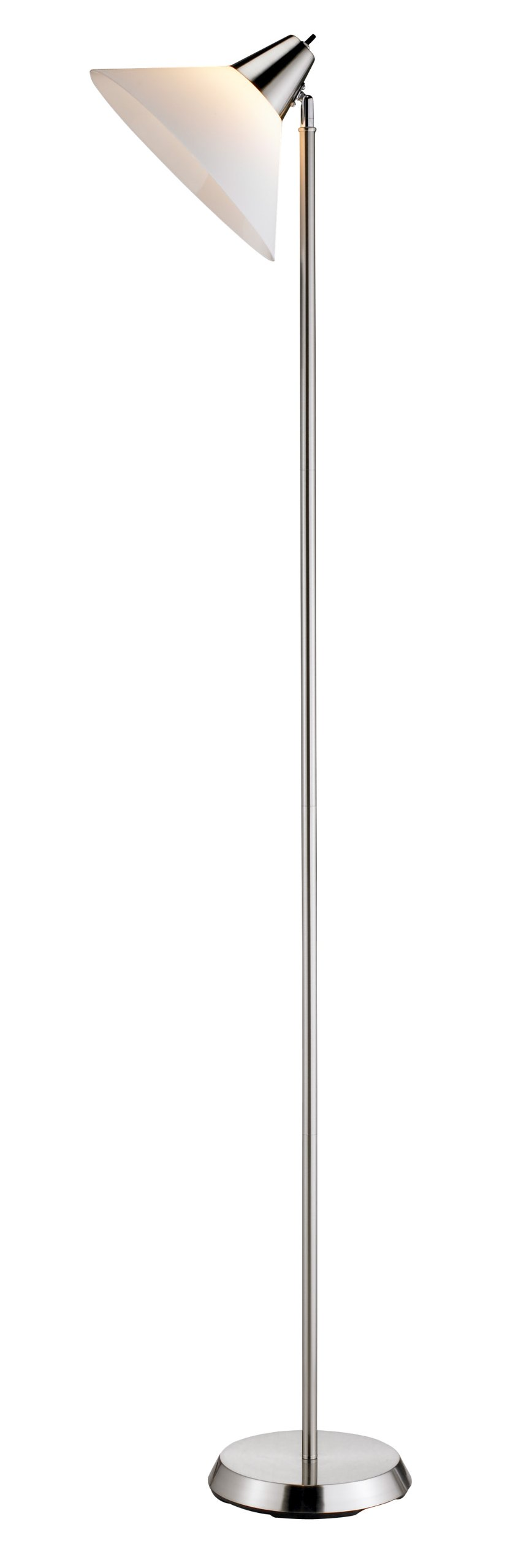 Adesso Swivel Floor Lamp – White Plastic Shade, Smart Outlet Compatible 1 Bulb Lighting Equipment. Home Decor Accessory