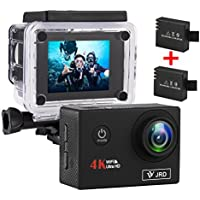 4K Action Camera FHD 1080P Wifi Waterproof Sports Camera Camcorder, 2.0 Inch LCD Display 170° Ultra Wide Angle Lens with 2 Rechargeable 900 mAh Batteries and Full Accessories Kit