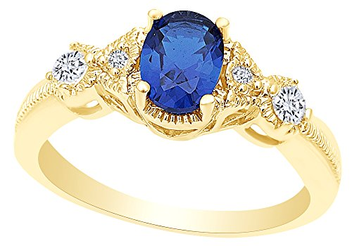 Oval Cut Simulated Blue Sapphire & Cubic Zirconia Fashion Ring in 14k Yellow Gold Over Sterling Silver Ring Size - 5 14k Yellow Sapphire Ring