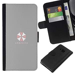 NEECELL GIFT forCITY // Billetera de cuero Caso Cubierta de protección Carcasa / Leather Wallet Case for HTC One M7 // Umbrella Corp
