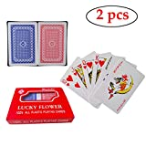 Neasyth Waterproof Plastic Playing Cards,2 Decks of Cards for Magic Props, Pool Beach Water Card Games (B)