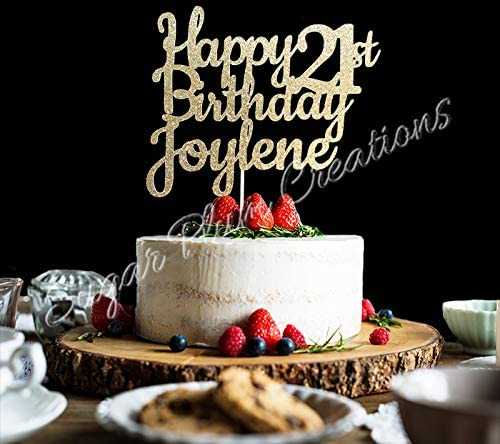 Enjoyable Amazon Com Custom Happy 21St Birthday Cake Topper Personalized Funny Birthday Cards Online Aeocydamsfinfo