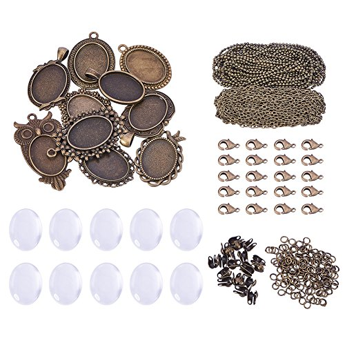 SUNNYCLUE 10 Sets Assorted Cabochon Frame Setting Tray Charms Pendant with Clear Oval Glass Dome Tile for Photo DIY Craft Jewelry Necklace Making, Antique Bronze - 4mm Oval Ring Setting