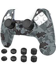 TiMOVO Cover for PS5 Controller Case Skin with 8 Thumb Grip Caps, Anti Slip Silicone Proetective Case for PS5 DualSense Wireless Controller, Gray