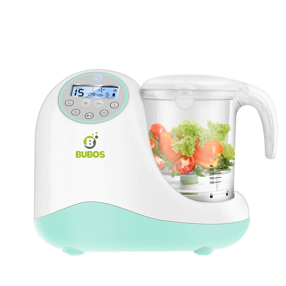 Bubos 5-in-1 Smart Baby Food Maker with Steam Cooker, Blender, Chopper, Sterilizer & Warmer for Organic Food Cooking, Pureeing & Reheating - BPA Free Food Processor with LCD Display by B Bubos