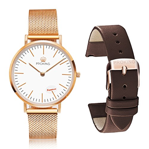 Mens' ,Women's Watches,PROKING Stainless Steel Waterproof Dress Watch,Sapphire Crystal Rose Gold Ultra Thin Couple Watches,Fashion Casual Watch with Replaceable Free Extra Leather Band