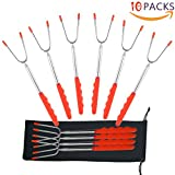 Pruk Set of 10 Marshmallow BBQ Forks, 45 inch Extendable Rotating 304 Stainless Steel Barbecue Tool for Camping& Bonfire