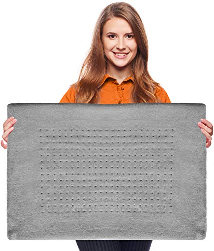 XXL Heating Pad - Electric Heating Pad for Moist and Dry Heat Therapy - Fast Neck/Shoulder/Back Pain Relief at Home (18' x 26'), GENIANI (Soft Gray)