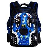 oofay School Bag For Boys 3D Racing Shouders Bag 6-12 Years Old Children Backpack 12.5 * 9.4 * 16.9Inch,Blue