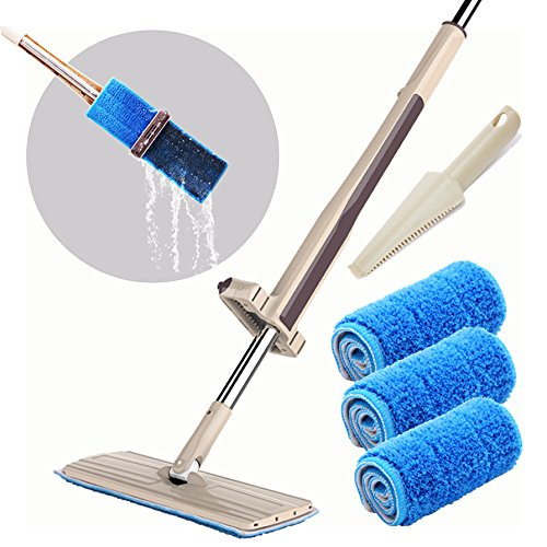 Joiedomi Automatic Squeezed Hands Free Microfiber Floor Mop with 3 Microfiber Cloths and 1 Brush