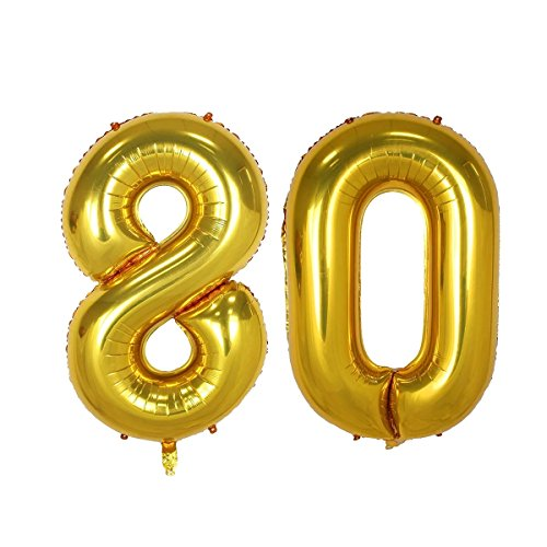 (40inch Gold Number 80 Balloon Party Festival Decorations Birthday Anniversary Jumbo foil Helium Balloons Party Supplies use Them as Props for Photos (40inch Gold Number)
