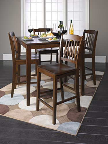 Roundhill Furniture 5 Piece Cappuccino Finish Wood Counter Height Dining Set, 1 Table w/ 4 stools