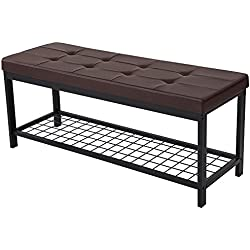 "SONGMICS 45"" L Metal Entryway Hallway Upholstered Bench with Storage Shelf Brown ULBS40Z"