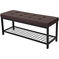 SONGMICS 45' Metal Entryway Hallway Upholstered Bed Bench with Storage Shelf Brown ULBS40Z