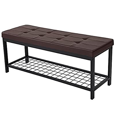 "SONGMICS 45"" L Metal Entryway Hallway Upholstered Bench with Storage Shelf Brown ULBS40Z -  - entryway-furniture-decor, entryway-laundry-room, benches - 51ZW9nXVszL. SS400  -"