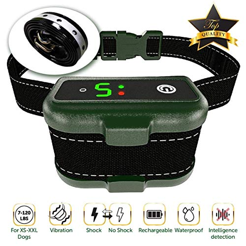 TBI Pro [Newest 2019] Rechargeable Bark Collar - Upgraded Smart Detection Module w/Triple Stop Anti Barking Modes : Beep/Vibration/Shock for Small, Medium, Large Dogs All Breeds - IPx7 Waterproof
