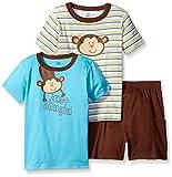 Gerber Toddler Boys' 3 Piece Shirt and Short Playwear Set, Monkey/Exclusive, 3T