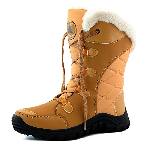 DailyShoes Women's Comfort Round Toe Mid Calf Hiking Outdoor Ankle High Eskimo Winter Fur Snow Boots, (Eskimo Outfit)