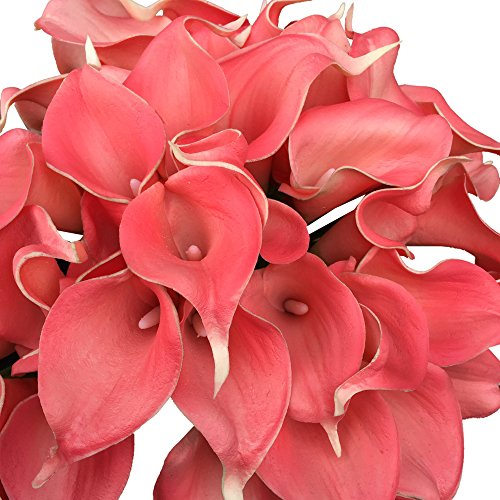 Lot-of-60pc-coral-Reefdavids-Bridal-Color-Real-Touch-Calla-Lily