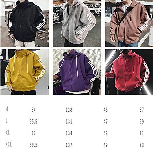 zhangmeiren Herren Pullover Neue Winterjacke Reißverschluss-Pullover Mantel Dick Teen Paare Gestreifte Loslegen (Color : Yellow, Size : Medium)