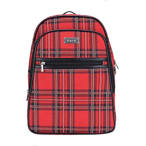 - Signare Tapestry Red Stylish Rucksack Backpack Book Bag with Front Pocket in Royal Stewart Tartan Plaid (BKPK-RSTT)