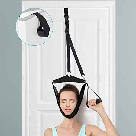Neck Traction Hammock,Cervical Neck Traction Device Over Door for Home Use,Portable Neck Stretcher Hammock for Neck Pain Relief, Physical Therapy AIDS for Neck Spine Decompressor