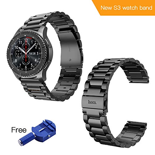 Hoco. Gear s3 Frontier Band,Samsung Gear s3 Watch Band 22/46mm Stainless Steel Band for Samsung Smart Sport Watch/Wrist Bracelet Metal Replacement for Samsung Gear S3 Frontier / S3 Classic(Black)
