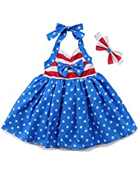 56b4e3c02d74 Annvivi July 4th Baby Girls Flag Romper Dress Stars Print Halter Sleeveless  Backless Bodysuit with Headband