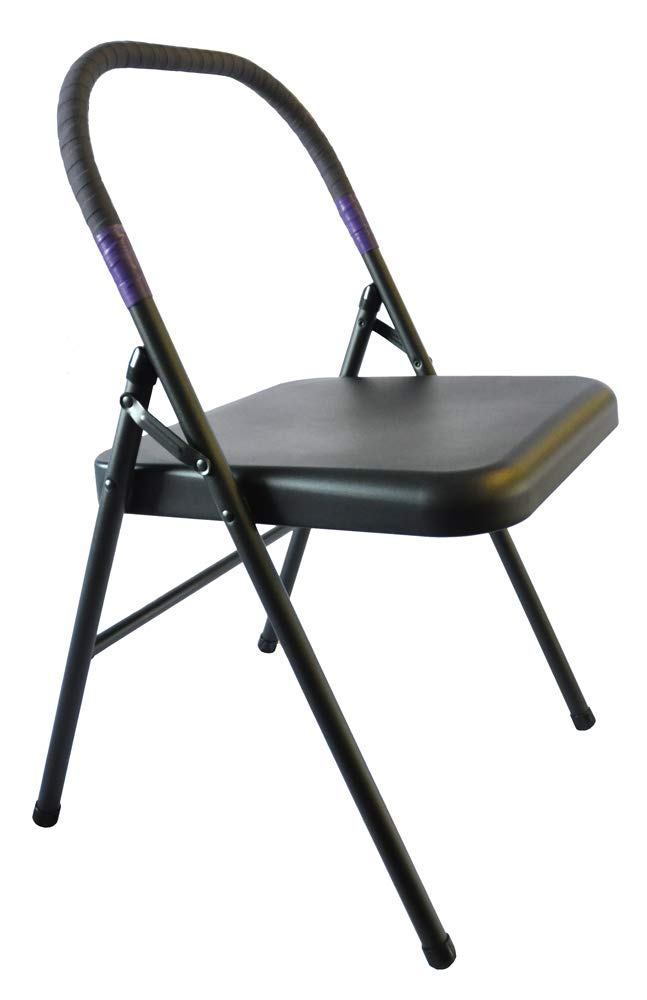 Pune Yoga Chair – Black Chair with Purple Wrap