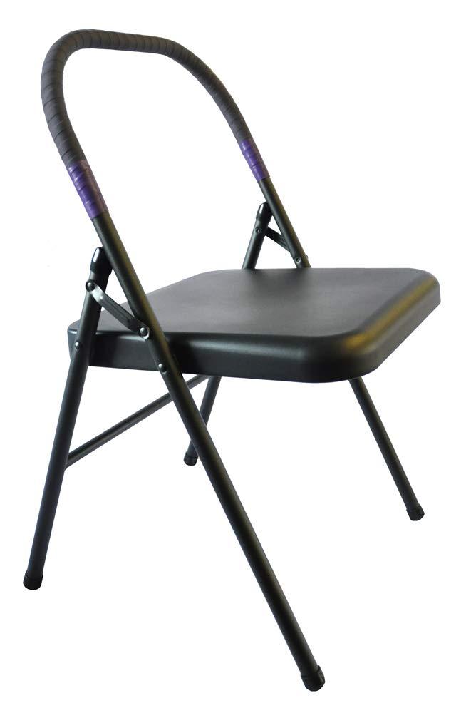 Pune Iyengar Yoga Chair - Black Chair with Purple Wrap