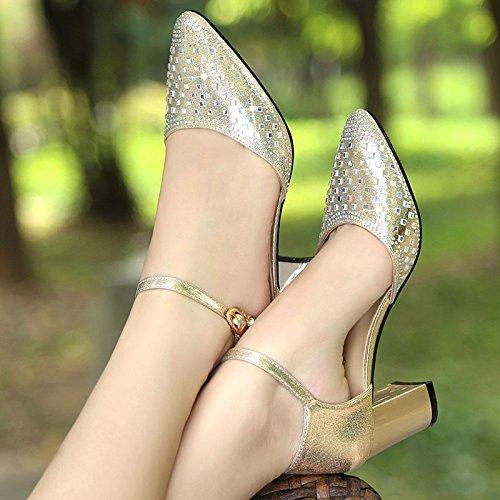 YMFIE Sandalias de tacón Alto de Cuero cómodas de Moda de Verano para Mujer de tacón Cuadrado B