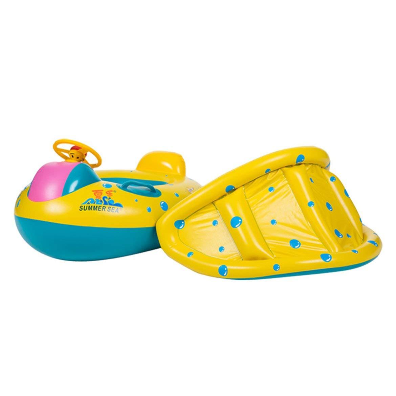 JohnJohnsen Forma Trompeta Seguridad del beb/é Nataci/ón Infantil Flotador Inflable Parasol Ajustable Asiento del Barco del Anillo de la Nadada Piscina Accesorios Amarillo