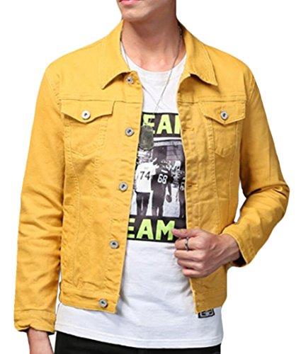 KLJR Men Slim Fit Denim Jacket Classic Button Down Trucker Jacket