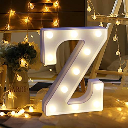 Led Letter Lights, Elevin(TM) Remote Control Alphabet Letter Lights LED Light Up White Plastic Letters Standing (Z)