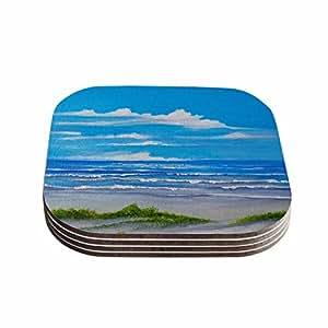 "KESS InHouse Rosie Brown""Sanibel Island"" Coastal Painting Coasters (Set of 4), 4 x 4"", Multicolor"