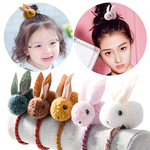 (Goldenlight 5 Packs Cute Rabbit Hair Band Elastic Hair Ties Hair Accessories with Rabbit for Girls Young Ladies)