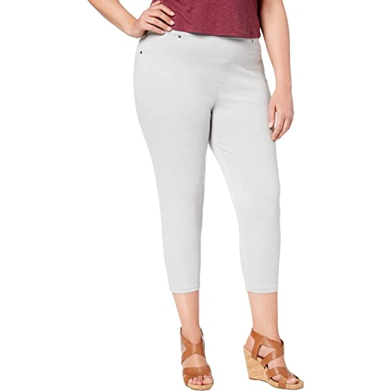 3b917f886b276 Style & Co. Womens Plus Twill Pull On Capri Leggings Gray 0X: Amazon ...