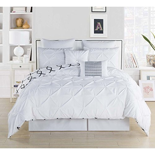 8pc Bedding White King Pintuck Pinched Pleat Patterned Comforter Set, Milk White Shabby Chic Adult Bedding Master Bedroom French Country Vibrant Colorful Elegant, Polyester by D&D