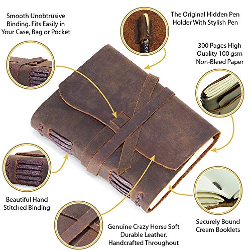 Leather Journal Travel Diary, Handmade Vintage Writing Bound Notebook For Men For Women Antique Soft Rustic Leather 5 x 7 - Quality Unlined Paper Best Gift for Art Sketchbook Notes - Pen-holder + Pen