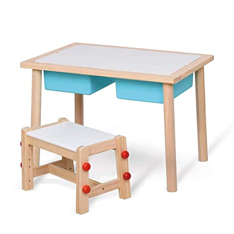 Amazon.com: Juego de mesa y silla de madera maciza para ...