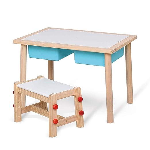Juego de mesa y silla de madera maciza para niños, silla de altura ...