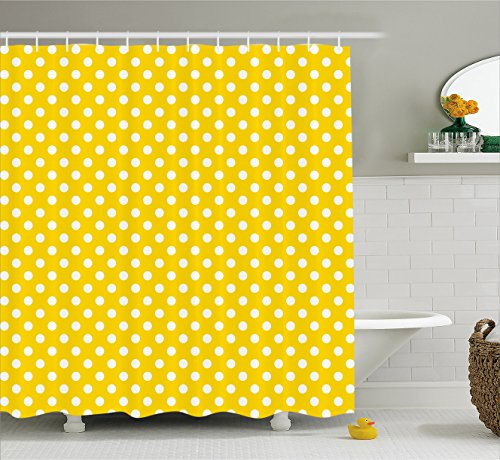 Ambesonne Yellow Decor Shower Curtain By Picnic Inspired