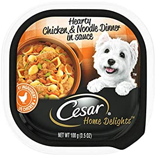 CESAR HOME DELIGHTS Soft Wet Dog Food Hearty Chicken & Noodle Dinner in Sauce, (24) 3.5 oz. Easy Peel Trays